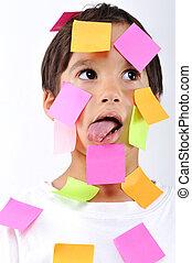 lille dreng, hos, memorandum., notere, på, hans, zeseed