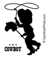 lille dreng, ind, hat cowboy, på, legetøj hest