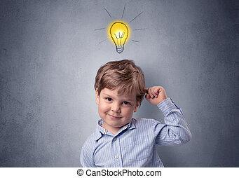 lille dreng, mull, hen, hos, pære, above, hans, anføreren