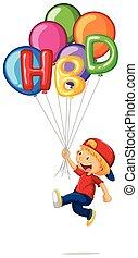 lille dreng, og, hbd, på, balloner