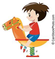 lille dreng, på, rokke hest