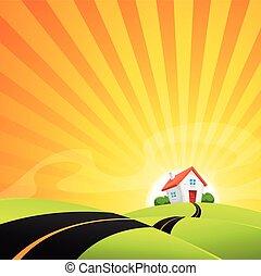 lille hus, ind, sommer, solopgang, landskab