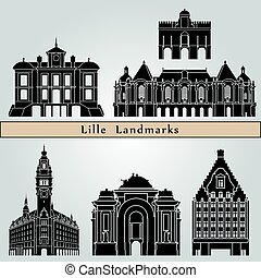 Lille landmarks and monuments isolated on blue background in...