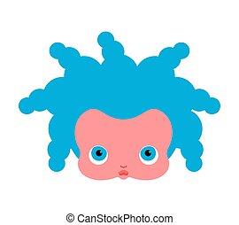 lille pige, face., dukke, head., vektor, illustration