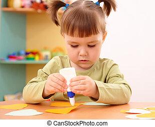 lille pige, gør, kunster håndværk, ind, preschool