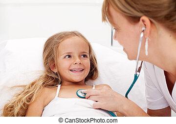 lille pige, ind seng, har, en, sundhed check