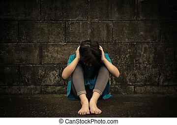 lille pige, sørgelige, kriseramt