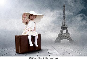 lille pige, siddende, udendørs, på, den, vinhøst, bagage
