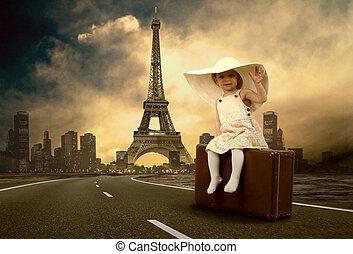 lille pige, venter, vejen, hos, hende, vinhøst, bagage