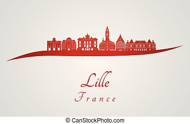 Lille skyline in red and gray background in editable vector ...