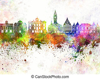 Lille skyline in watercolor background