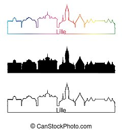 Lille skyline linear style with rainbow in editable vector ...