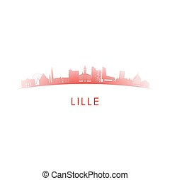 lille, skyline przedstawią w sylwecie, francja