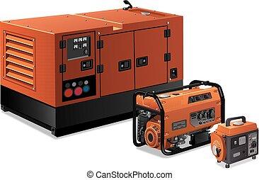lille, stor, generatorer, magt