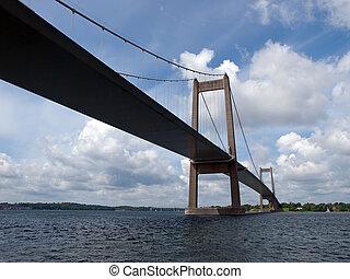 lillebaelt, litet, bälte, danmark, upphängd, bro