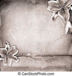 lillies, aus, altes , papier, albumsdecke