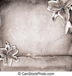 lillies, op, oud, papier, gedenkboek dek