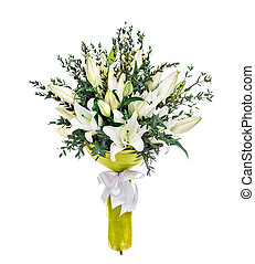 Lilly bouquet on white background