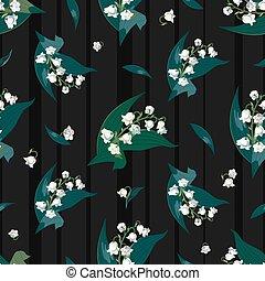 lilly, de, a, vale, -, maio, sinos, convallaria, majalis, com, verde sai, ligado, um, escuro, listrado, experiência.