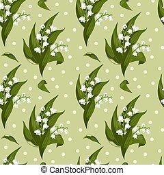 lilly, de, a, vale, -, maio, sinos, convallaria, majalis, com, verde sai, ligado, um, escuro, experiência.