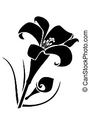 Lilly flower - A black tribal lilly flower tattoo