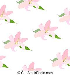 Lilly Flower Seamless Pattern Vector Illustration