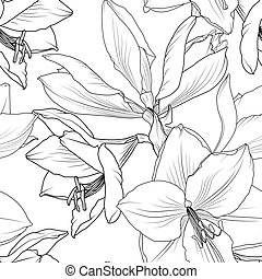 Lilly flowers closeup seamless pattern hippeastrum
