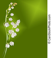 Twig of lilly of the valley against a soft green background