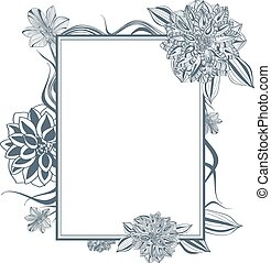 Lily and Dahlia Flower Vintage Frame