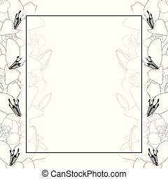 Lily and Iris Flower Outline Banner Card Border