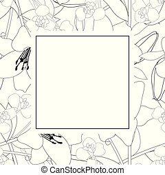 Lily and Iris Flower Outline Banner Card