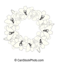 Lily and Iris Flower Wreath Outline