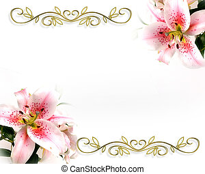 Lily Corners design - Asian Lilies Image and illustration...