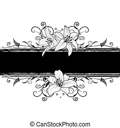 lily - vector banner with lily in black and white colors