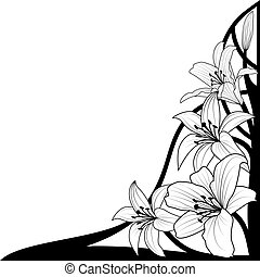 lily - vector illustration of lily in black and white colors...
