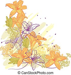 Lily flower abstract vector background.