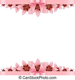 Lily flower Banner with pink bow on a white background