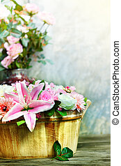lily flower bouquet and roses decor