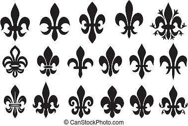 lily flower - heraldic symbol fleur de lis (royal french lily symbols for design and decorate, lily flowers collection, lily flowers set)