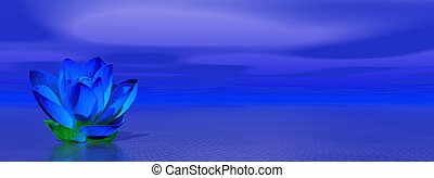 Blue indigo lily flower in ocean to symbolize sixth chakra