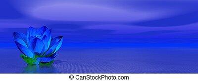 Lily flower in blue indigo ocean - Blue indigo lily flower...