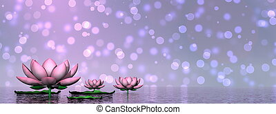 Lily flowers - 3D render - Lily flowers and leaves upon...