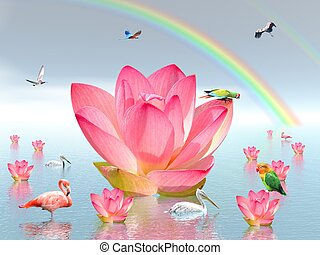 Lily flowers and birds  under rainbow