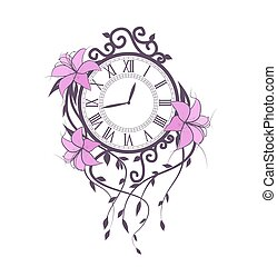 Lily flowers and clock