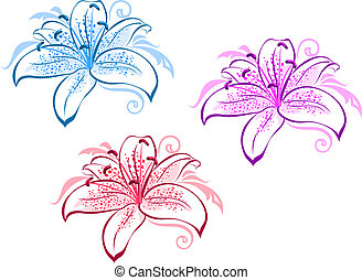 Beautiful lily flowers set for design and ornate