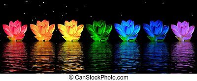 Lily flowers chakras - Chakra colors of lily flower upon...