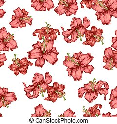 Lily flowers on white background. Floral seamless pattern. Vector illustration.
