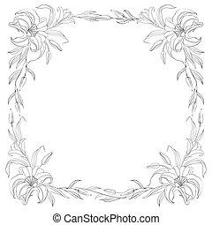 Lily frame for invitations.  illustration.