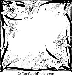 lily frame - vector frame with lily in black and white...