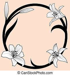lily frame - vector illustration of lily in art nouveau...